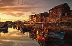 golden light (dfryphotography) Tags: reflection boats dawn barbican sunrisegolden