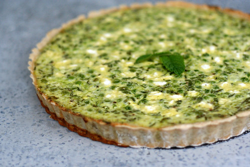 Gluten-Free Pea and Goat Cheese Tart with Fresh Herbs