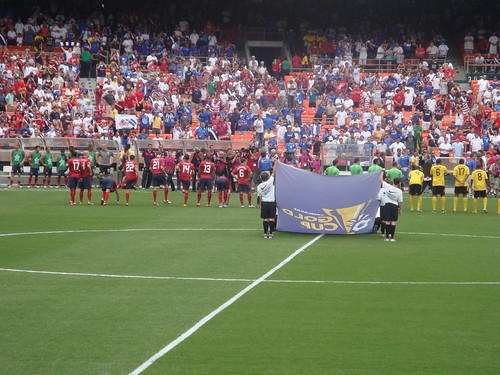 Players lined up for the National Anthems
