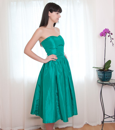 Vintage Strapless Sweetheart Party Dress in Kelly Green - S (4)