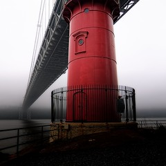 The George Washington Bridge and the Little Red Lighthouse (mudpig) Tags: park nyc newyorkcity bridge red lighthouse mist newyork beach fog square geotagged newjersey manhattan lane hudsonriver gothamist georgewashington hdr gwb fortlee georgewashingtonbridge riverscape mudpig stevekelley stevenkelley