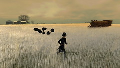 AM running through the wheat, pursued by a gaggle of top hats (Hitomi Mokusei) Tags: train wheat avatar running sl secondlife pursuit wheatfield gaggle tophats virtualworld amradio dreamworldnorth thefaraway