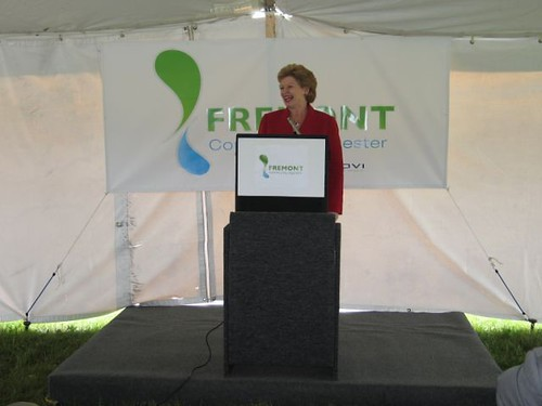 U.S. Sen. Debbie Stabenow, chairwoman of the Senate Committee on Agriculture, Nutrition and Forestry, speaks at the groundbreaking for the Fremont, Michigan, Community Digester.