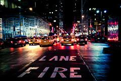   F i r e L a n e   (fotoferri) Tags: nyc urbanlifeinmetropolis mark night urbanjungle streetphotography 5d eos neon mimmopellicola cronacheurbane canon usa newyork     njujork     nowyjork novaiorque  nuevayork