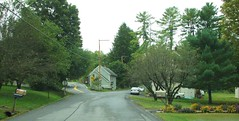 MAIN STREET AT UNION CENTER ROAD ST REMY NY (richie 59) Tags: ulstercountyny ulstercounty newyorkstate newyork unitedstates weekend autumn trees saturday townofesopusny townofesopus richie59 stremyny stremy frontyard fall poles wires yard 2016 neighborhood hamlet oct12016 oct2016 intersection america 2010s buildings structures street hudsonvalley midhudsonvalley midhudson nystate nys ny usa us mainstreet houses oldhouses bypassed forkintheroad parkedcars 2lane twolane automobiles autos cars motorvehicles vehicles westbound