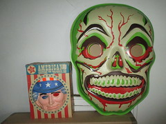 Green Grinning Skull Mask 6198 (Brechtbug) Tags: green grinning skull mask halloween semi vintage with regular sized uncle sam box ben cooper collegeville halco ghoulsville retro newspaper sunday funnies comics holiday costume comic strip book comicbook spy movie film cinema americana america freedom justice super hero spooky jumbo size