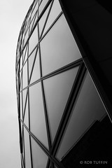 Architectural Spider Web (rewtuffphotos) Tags: thegherkin london 30stmaryaxe building skycraper city skyline canon cities financialdistrict reflection moody mono blackwhite bw architecture glass tower geometry triangles overcast cloudy grey skies