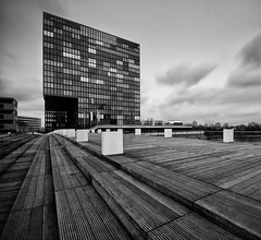 HYATT (wecand) Tags: wood longexposure bridge blackandwhite bw tower water architecture river germany nikon nd sw brcke dsseldorf holz televisiontower d300 medienhafen schwarzweis wecand gettygermanyq2