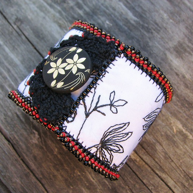 Black and White Floral Tapestry Cuff with Ikebana Button
