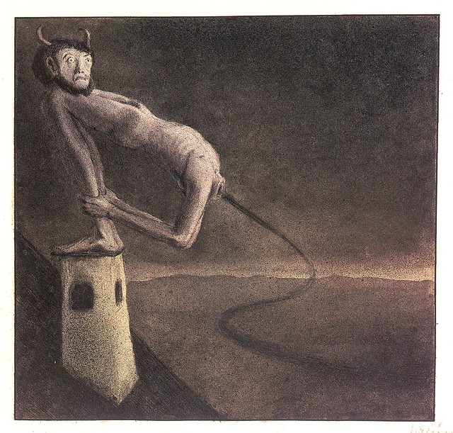 Alfred Kubin - THE DEVIL ON THE CHIMNEY, 1902