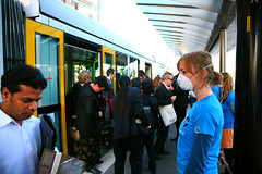 Dust Masks: ANZ Tram Protest (Greenpeace Australia Pacific) Tags: transport pollution commuter coal climate banks finance anz