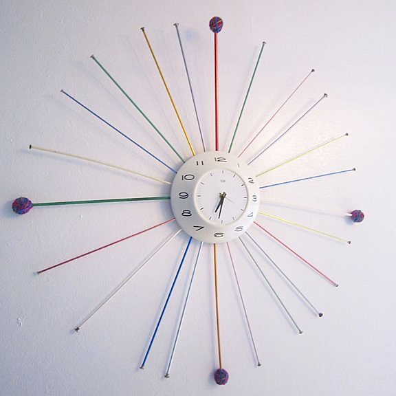 Mid-Century Modern Knitting Needle Clock