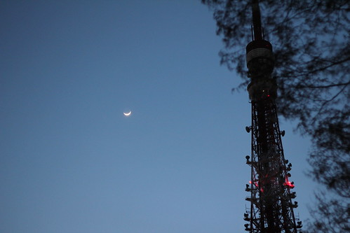 Crescent moon and Tokyo Tower by sagtran