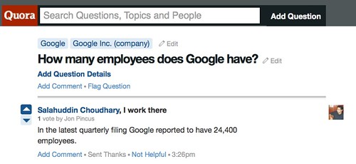 In the latest quarterly filing Google reported to have 24,400 employees.