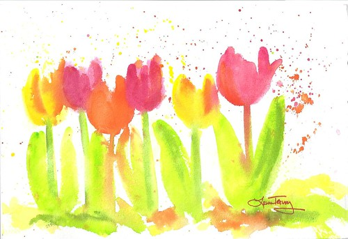 Spring Tulips in Watercolor