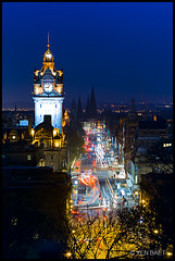 Edinburgh - View of Balmoral Hotel Clock Tower and Princes Street from Calton Hill (Yen Baet) Tags: city uk clock architecture buildings shopping scotland twilight ancient edinburgh europe cityscape view edinburghcastle cathedral unitedkingdom dusk scenic scottish princesstreet landmark icon clocktower scot stgilescathedral royalmile lighttrails bluehour majestic balmoralhotel iconic caltonhill scottmonument northbritishhotel 1princesstreet