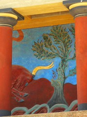 Bull fresco at Knossos (eucharisto deo) Tags: world heritage bronze arthur site evans palace greece age crete labyrinth fresco knossos minoan bronzeage wh kriti kingminos arthurevans κνωσόσ