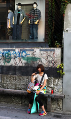 Gritty (Aaron Webb) Tags: japan bench graffiti tokyo shibuya harajuku 日本 東京 shoppingbags 原宿 渋谷区 japanday9 グラフィティ googlemaybe