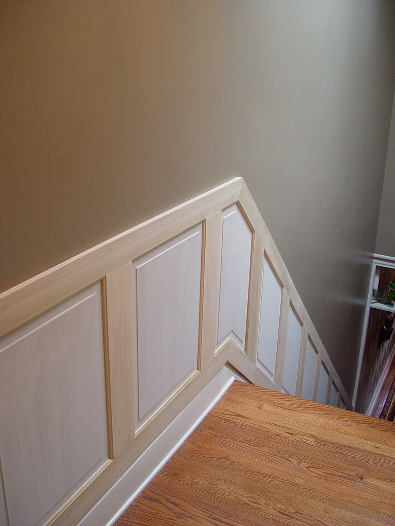 hold on tight! staircase wainscoting and handrail project - old