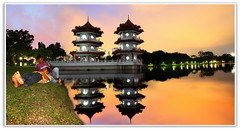 Singapore Chinese Garden : Twin Pagoda :    (Kenny Teo (zoompict)) Tags: park longexposure bridge gay light sky cloud india reflection tower art tourism water beautiful architecture night canon wonderful lens landscape pagoda photo yahoo google scenery photographer waterfront view emotion walk indian dramatic tourist getty mirrorimage lover kenny  twintower singaporechinesegarden twinpagoda zoompict singaporelowerpiercereservoir blangadish