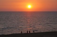 Sunset over Venice Beach #1 (rafalweb (moved)) Tags: ocean sunset people orange sun sunlight men beach water colors canon sand women florida powershot venicebeach g12 photoscape