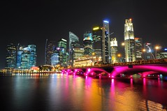 Classic Singapore Nightshot (Trim Reaper) Tags: longexposure bridge sky water colors night buildings reflections evening nikon singapore skyscrapers nightshot structures tokina esplanade cbd merlion centralbusinessdistrict uwa d90 1116mm
