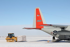 Loading an air force pallet of cargo onto the LC-130