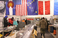 Inside the National Ice Core Laboratory during a core processing line