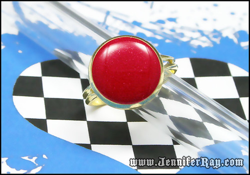 Cherry Red & Gold - Glittery Resin Adjustable Gold toned ring by JenniferRay.com