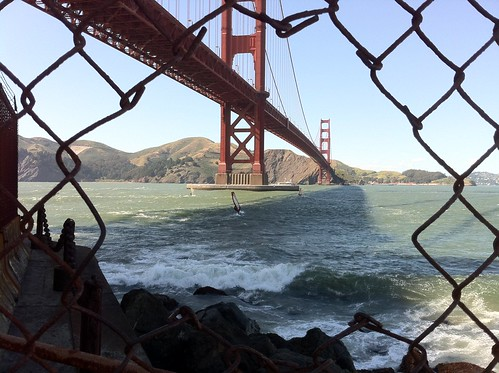 Golden Gate through fence at Hoppers Hands