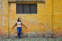 [307/365]: Yellow (A. adnan) Tags: guangzhou china portrait woman colour texture girl beautiful yellow wall composition project nikon friend 365 framing tamron f28 ruleofthirds tamron2875mmf28 project365 365days aadnan613