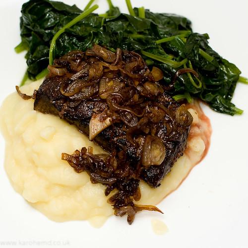 Flatiron Steak, Spinach, Mash