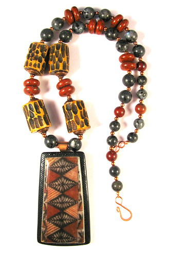 May Blog Giveaway Prize - Collaboration with Laurel Steven - Hawaiian Tapa Cloth Pendant and Carved Polymer Clay Bead Necklace (11)