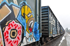 Homer Says (dlholt) Tags: railroad yellow train graffiti simpsons sprinkles donut doughnut homer