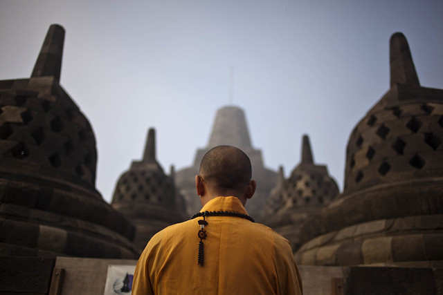 Monk at Borobudur Temple