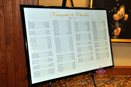 Seating Chart poster for wedding at the German Club by Diamond Events