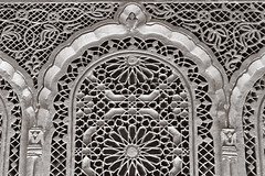 Marrakesh 30 (Craig !) Tags: bw detail architecture morocco marrakesh warmgrey carvedplaster