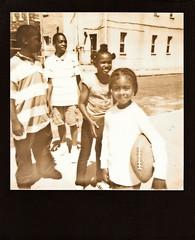 Baltimore (gerdaindc) Tags: street usa film kids polaroid football maryland baltimore africanamerican instant blackframe impossibleproject px600silvershade