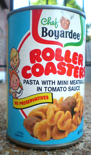 1986 Chef Boyardee Roller Coasters Pasta Tin Can Bank
