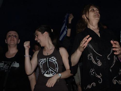 Greek protesters Greek protesters chanting ant-government slogans during anti-government rally - Thessaloniki, Greece