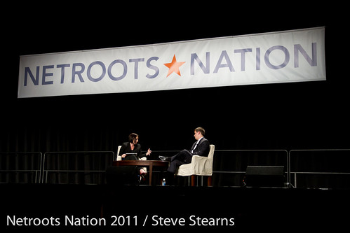 Daily Kos blogger Kaili Joy Gray grills White House Communications Director Dan Pheiffer at the Netroots Nation conference in Minneapolis