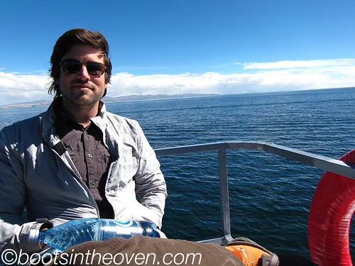 Logan on the boat to Isla del Sol