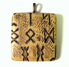 Faux Bone Ancient Runes Pendant