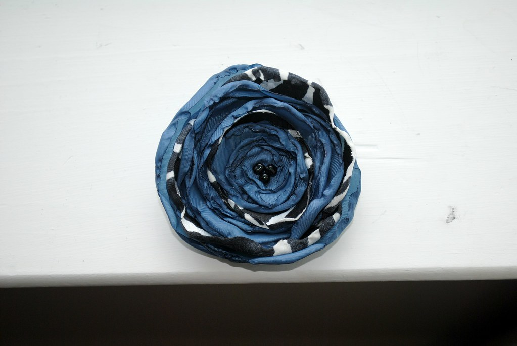 Blue & Zebra Striped Flower Hair Clip