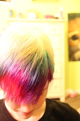Rainbow hair. (Kyra Elizabeth) Tags: portrait selfportrait hairdye face self hair rainbow eyes colorful candy short shorthair skittles rainbowhair cottoncandyhair colorfulhair skittlescandy