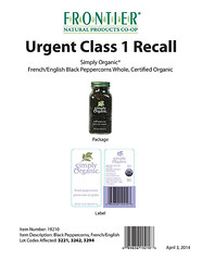 RECALLED – Organic Black Peppercorns (The U.S. Food and Drug Administration) Tags: wholefoods frontier foodsafety simplyorganic market365 everydayvalue frontiernaturalproductscoop