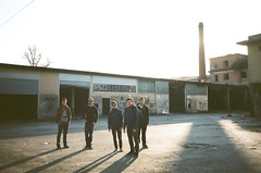 They' re not a rock band, I swear. They' re just my friends! (Kime011) Tags: leica friends 2 chimney sun abandoned factory afternoon shadows place kodak band guys mini expired portra vc desolation analogic 160