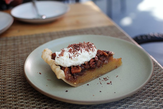 pecan pie with smokey whipped cream