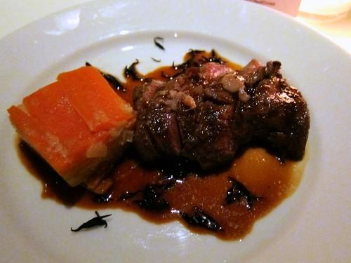 Seared Oloroso marinated venison, carrot, ginger & miso gratin, bone marrow & hijiki jus