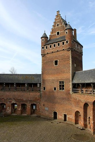 inner courtyard and tower of castle located close to Brussels